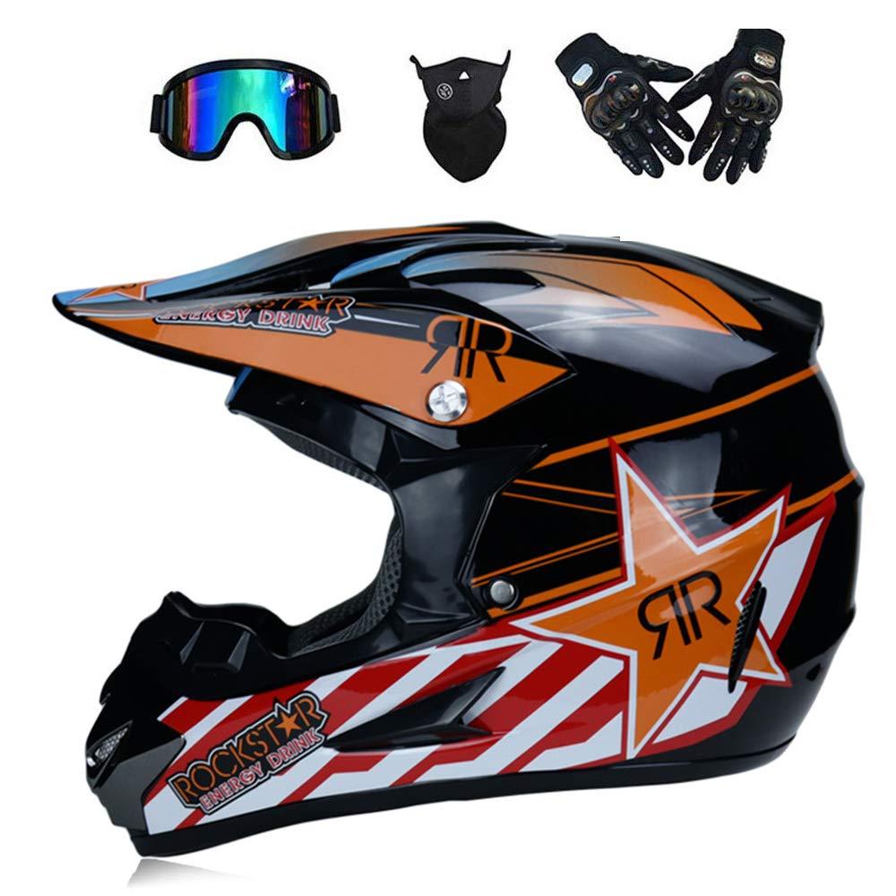GWJNB Racing Adult Motocross Motorcycle Helmet & Adult MX Motocross AM Mountain Bike Full Face Helmet (Gloves,Goggles, Mask,4-Piece Set) L