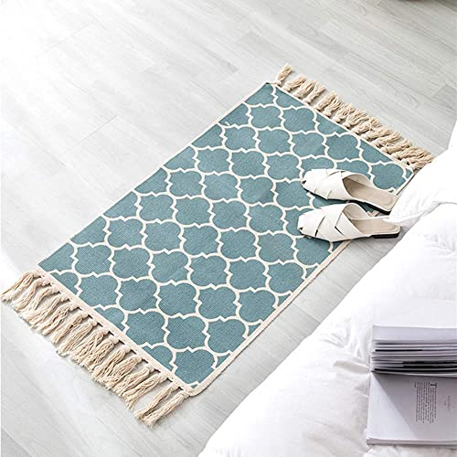 Satbuy Cotton Area Rugs,Woven Cotton Printed Rug Runner Machine Washable Cotton Rug with Fringe Tassel for Living Room Bedroom Kitchen 2 x3