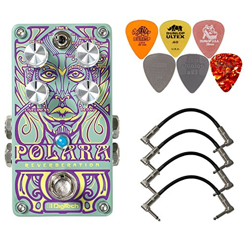 Digitech Polara Stereo Reverb Pedal Bundle with 4 Patch Cables and 6 Dunlop Picks (Best Stereo Reverb Pedal)