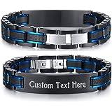 VNOX Custom Personalized Elegant Stainless Steel Two-Tone Blue&Black Link Bracelet for Men Dad, Adjustable