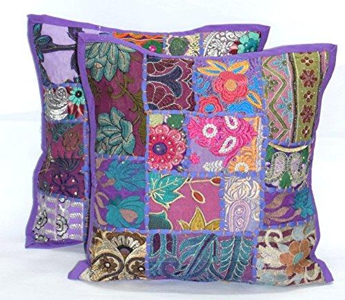 (2pc Ethnic Sari Patchwork Pillow Cover , 16x16