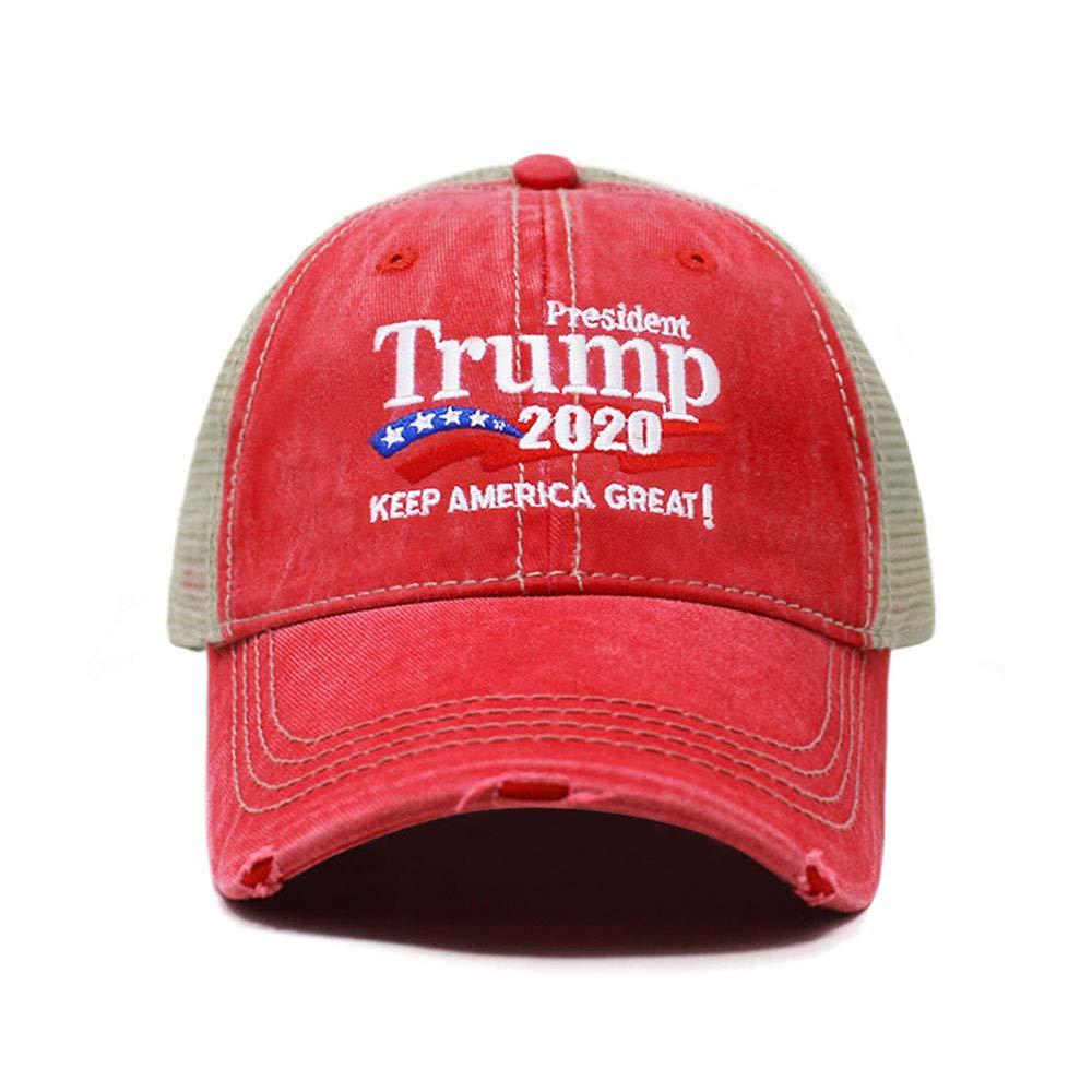 ChoKoLids Trump 2020 Keep America Great Campaign Embroidered USA Hat | Baseball Bucket Trucker Cap (Distressed Trucker TC102 Red)