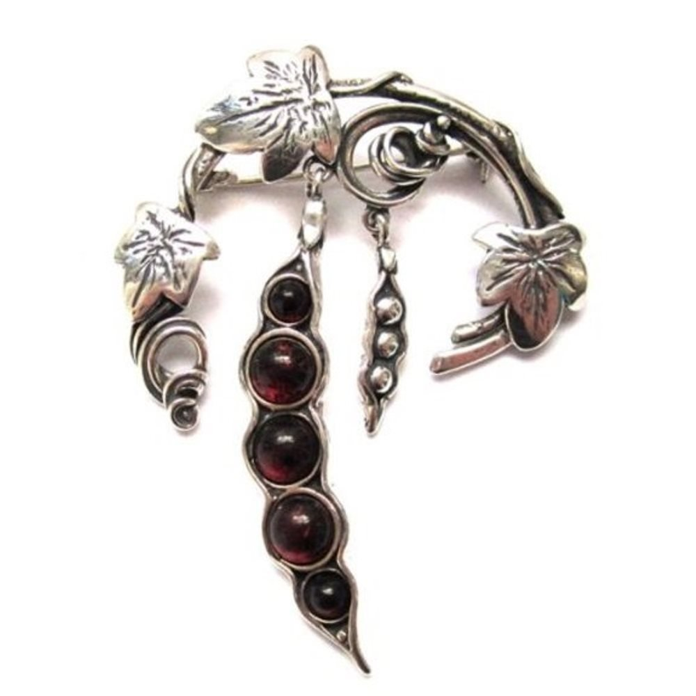 Cherry Amber Sterling Silver Pea-Pod Botanical Pin