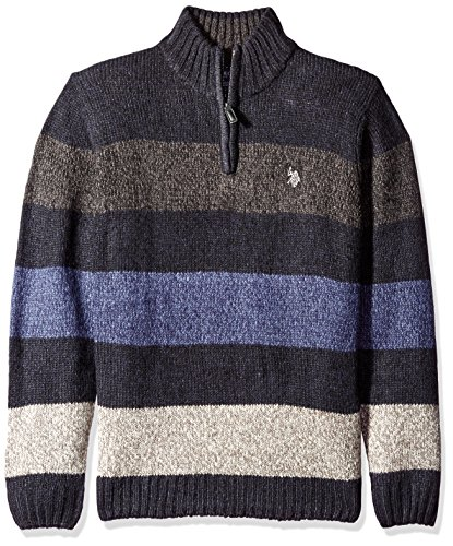 U.S. Polo Assn. Mens All Over Striped Mohair-like1/4 Zip