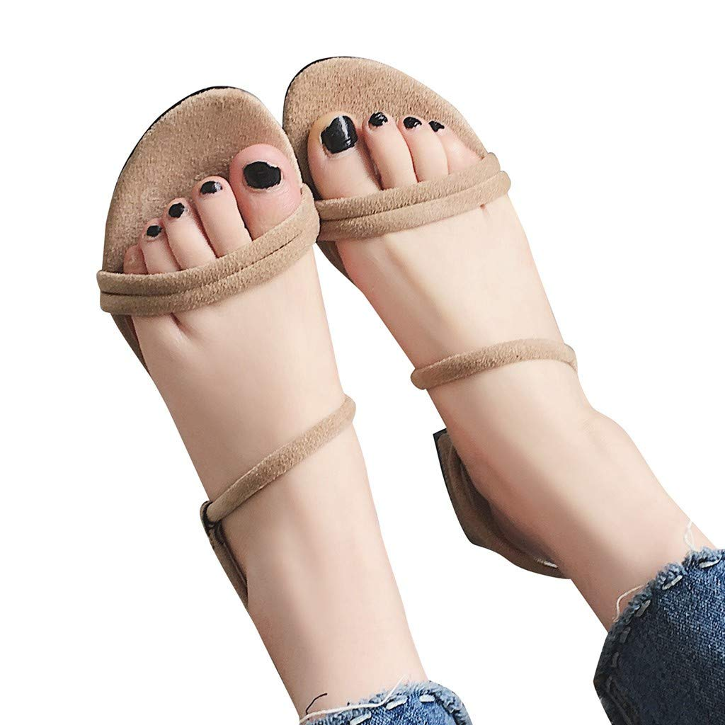 Clearance Staron Womens Round Toe Low Heel Sandals Summer Platform Thick Open Toe Shoes Ankle Strap Casual Beach Sandals