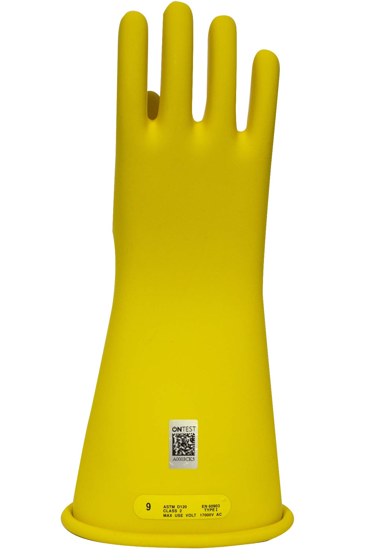 National Safety Apparel Class 2 Yellow Rubber Voltage Insulating Gloves, Max. Use Voltage 17000V AC/25500V DC (DW14210Y)