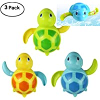 WedFeir 3pcs Bath Swimming Turtle Toy for Baby Toddler Wind up Chain Bathing Water Toy Swimming Tub Bathtub Pool Cute Swimming Turtle Toys for Boys Girls.