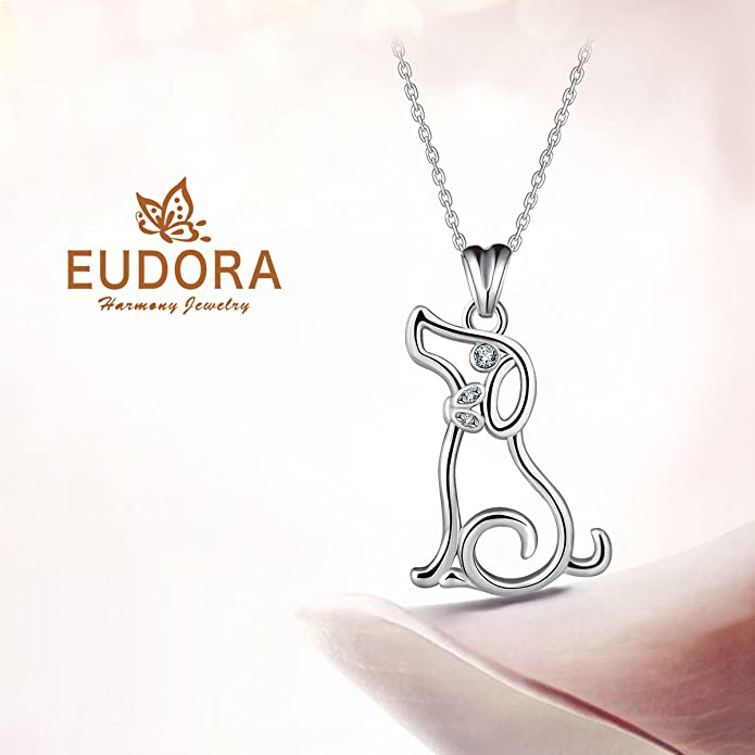 EUDORA Harmony Ball Eudora Puppy Dog 925 Sterling Silver Loyal Companion Pendant Necklace Jewellery Christmas Gift,18
