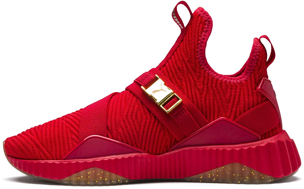 Ribbon Red   Metallic gold PUMA Women's Defy Mid Sneaker