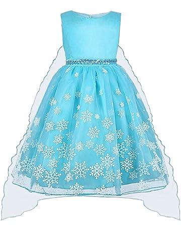 e6a643803a Vicloon - Disfraz de Princesa Elsa Capa Disfraces Belle Vestido y  Accesorios para Niñas