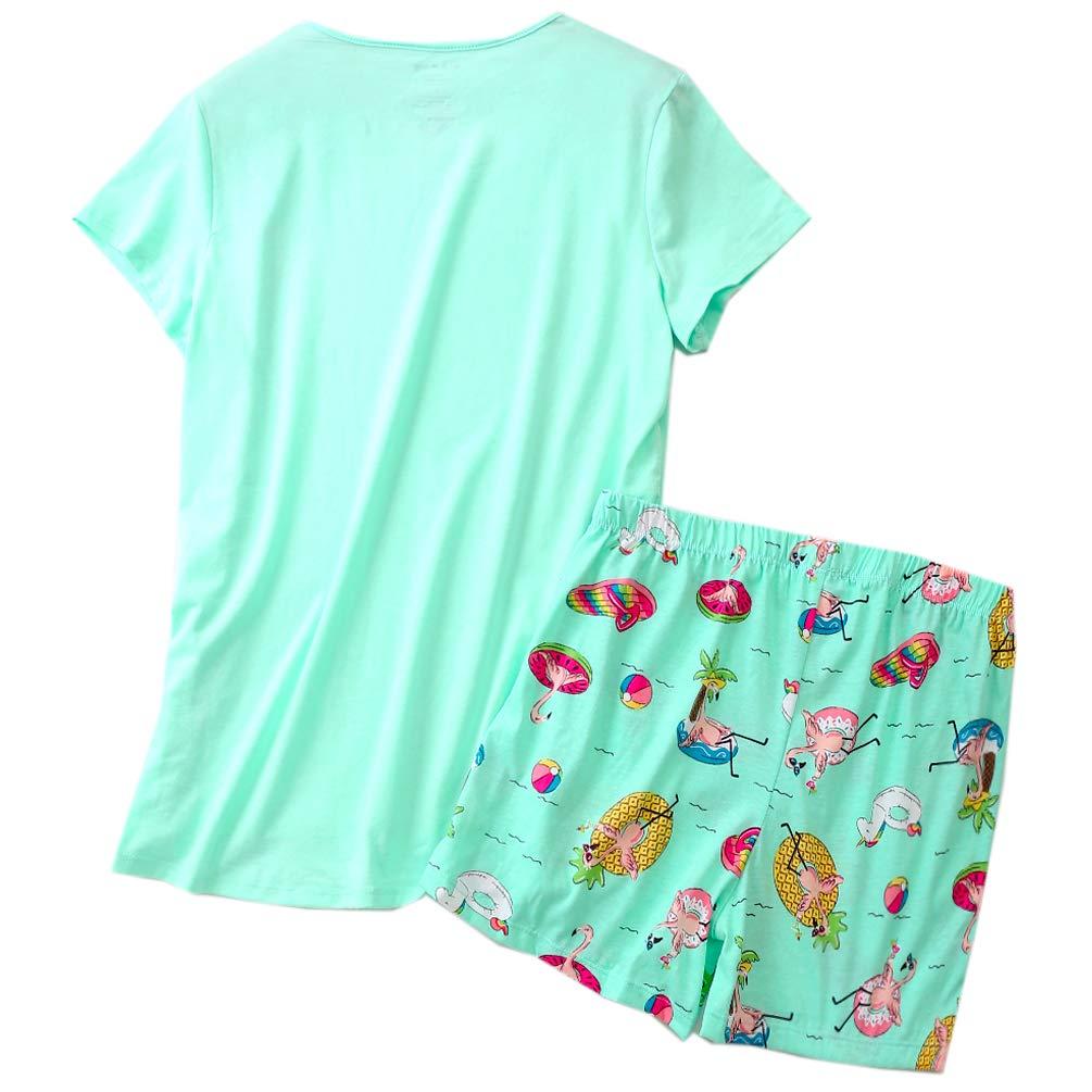 ENJOYNIGHT Women\'s Cute Sleepwear Print Tee and Shorts Pajama Set (Large, Colors)