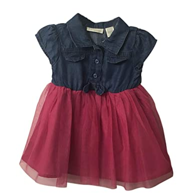 84c4d6a53a1e Image Unavailable. Image not available for. Color: First Impressions Macy's  Baby Girl Denim & Tulle Dress Holiday ...