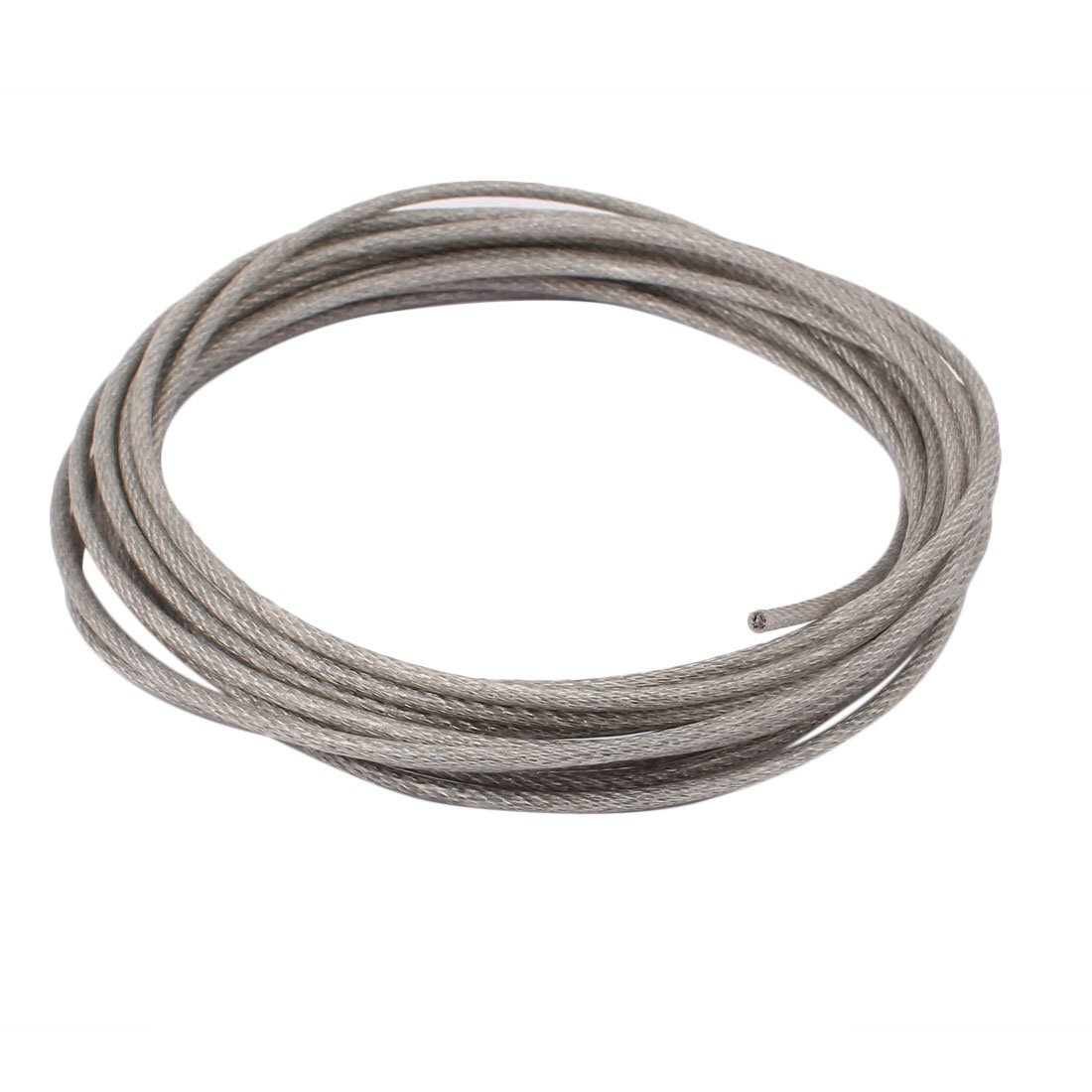 uxcell 5M Length 3mm Diameter Plastic Coated Flexible Steel Wire Cable Rope Silver Tone