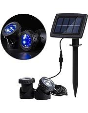 RivenAn 12 LEDd Waterproof Solar Energy Powered Spotlight Projection Light with 2 Submersible Lamps for Outdoor Garden Pool Pond Spot Lamp Light, Underwater Light, Lighting Color