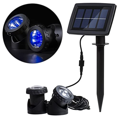 RivenAn 12 LEDs Waterproof Solar Energy Powered Spotlight Projection Light with 2 Submersible Lamps for Outdoor Garden Pool Pond Spot Lamp Light, Underwater Light, Lighting Color (Blue)