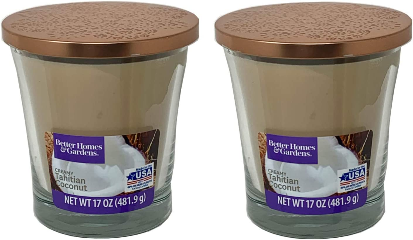 Better Homes Gardens 17oz Scented Candle, Creamy Tahitian Coconut 2-Pack