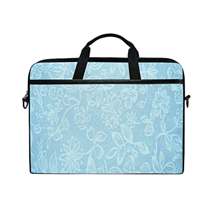1f3f7c659f2b Amazon.com: Baby Blue Floral Pattern 14-15 inch Laptop Case Computer ...