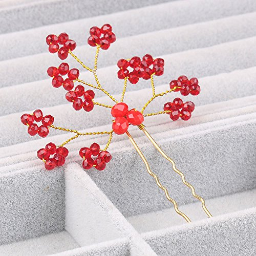 Red and White Crystal Plum branch bride dish hair small studio styling hair plug hair dress hair disk hairpin pins for women girl lady (Dish Branch)