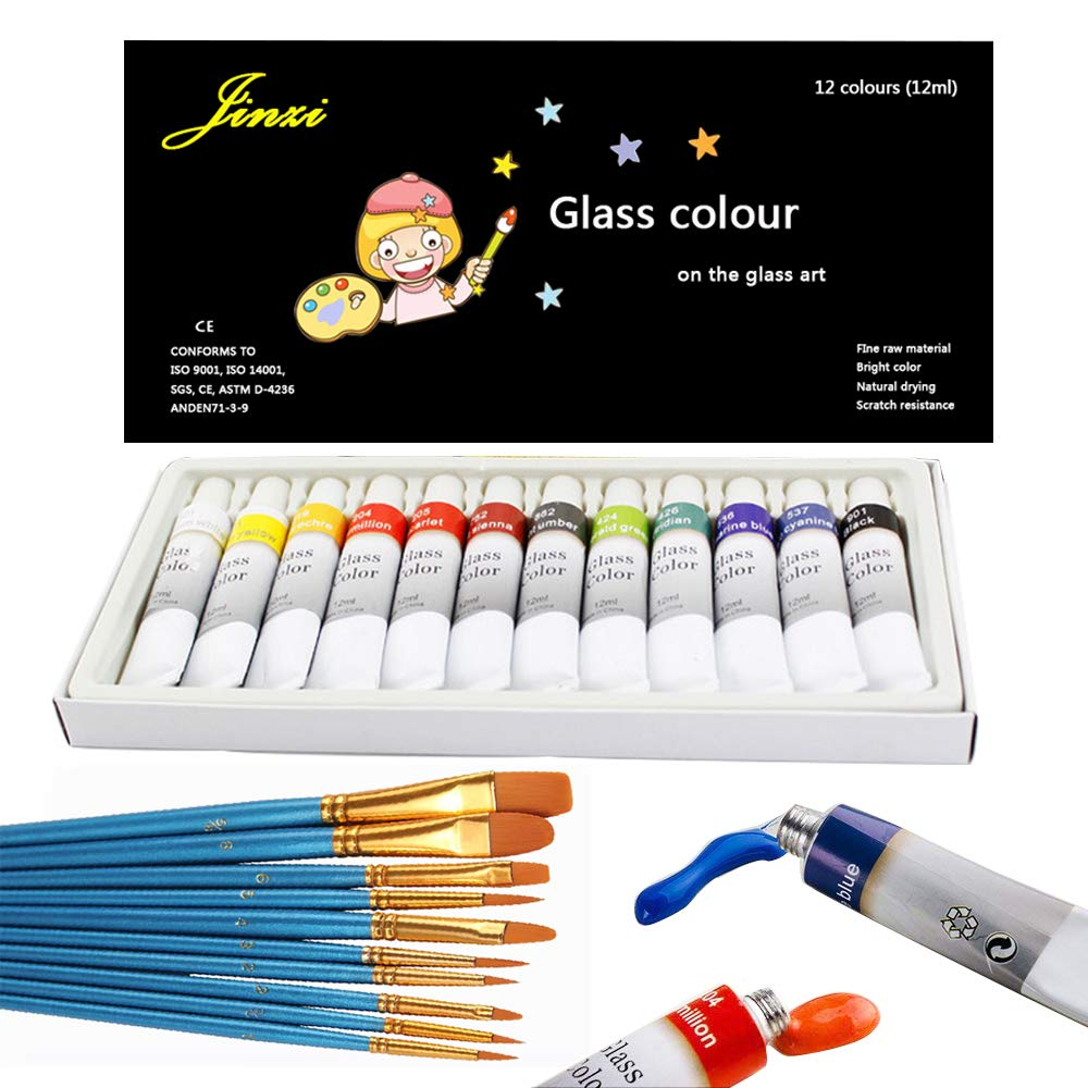 Jinzi Stain Glass Paint, Non-Toxic Window Paint, Permanent Glass Paint Kit, Lacquer Based for Superior Stained Glass Art Paint, Glass Painting with 10Pieces Round Pointed Tip Nylon Hair Brush