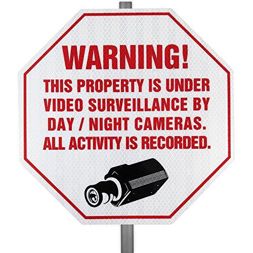 Reflective CCTV Security Surveillance Yard Sign & Stake (Property Sign Yard)