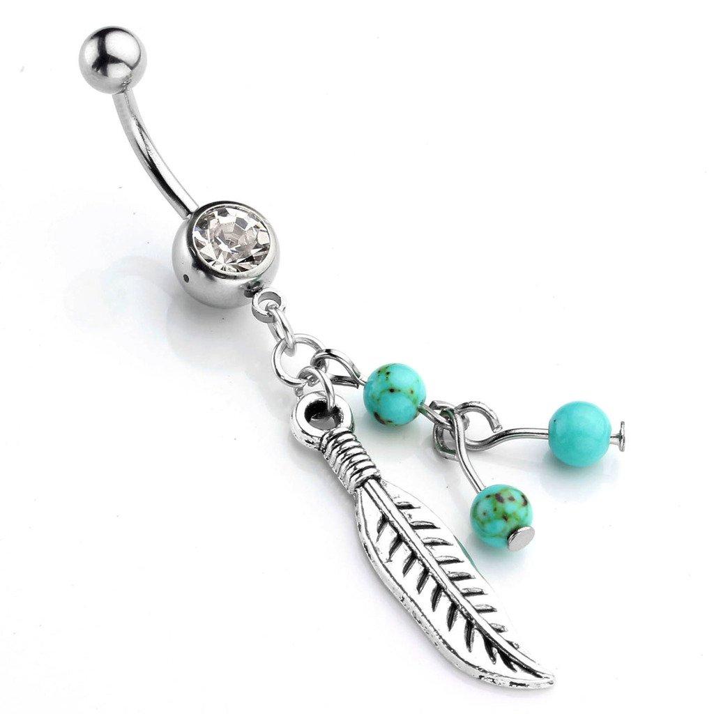 JSDDE Piercing,Edelstahl Bauchnabelpiercing mit Feder Anhänger und Türkis Perlen,Zirkonia Belly Ring Bauchnabel Piercing