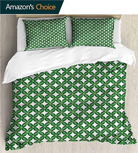 VROSELV-HOME 3 Pcs King Size Comforter Set,Box Stitched,Soft,Breathable,Hypoallergenic,Fade Resistant Cool 3D Outer Space Bedding Digital Print-Emerald Diagonal Square Mesh Design (80