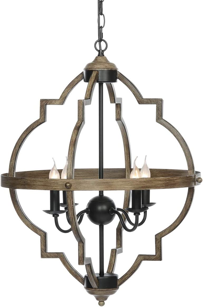 KingSo Pendant Light 4 Light Rustic Metal Chandelier 27.5 Oil Rubbed Bronze Finish Wood Texture Industrial Ceiling Hanging Light Fixture for Indoor Kitchen Island Dining Living Room Farmhouse