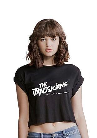 12a79d3fa00 THE JANOSKIANS t shirt CROP top sexy DOGS GONNA BARK youtube dirty pig got  cake( M - UK 12 Black): Amazon.co.uk: Clothing