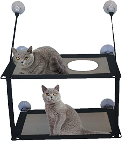 VANELIFE Cat Hammock,Cat Bed Strong Suction Cup Window Perch for Winter for Summer Single-Layer/&Double-Layer