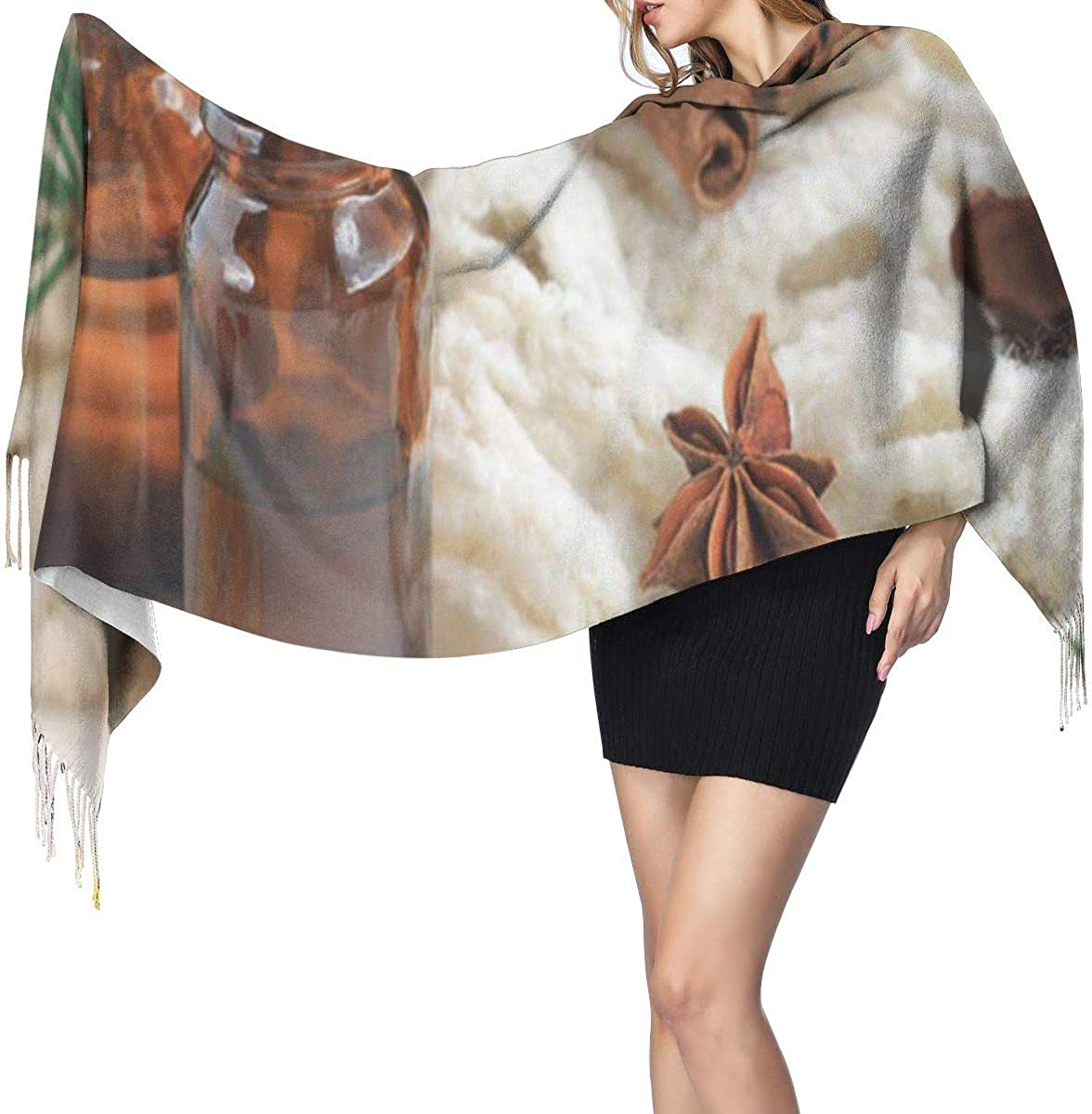 Essential Oil Blend Dark Glass Bottles Cinnamon Pine Twigs Soft Cashmere Scarf For Women Fashion Lady Shawls,Comfortable Warm Winter Scarfs