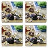 MSD Square Coasters Non-Slip Natural Rubber Desk Coasters design 19686449 Spa concept with zen stones and orchid