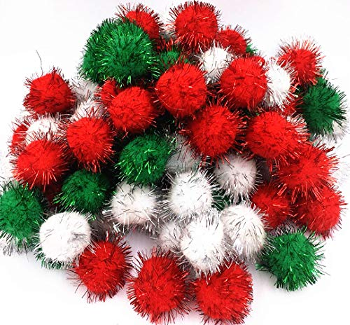 TECH-PCreative Life Glitter Poms Poms Sparkle Balls Pet Cat Toy Balls My Cat's Favorite Christams Toy Ball-Assorted Color, 1.5 Inch with Tinsel,100 Pack ()