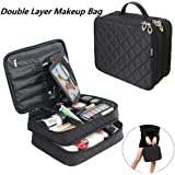 Volwco Double Layer Make Up Bag, Make Up Travel Organiser Bag With Brush Compartment Portable Nylon Make Up Bag For Women