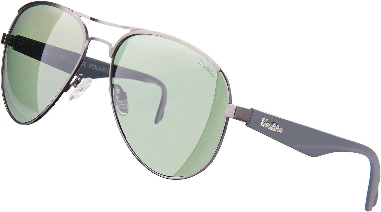 Verdster Horizon - Gafas De Sol De Aviador Polarizadas Para Hombres – Protección UV 400 – Montura De Acero Inoxidable Y Patillas TR90