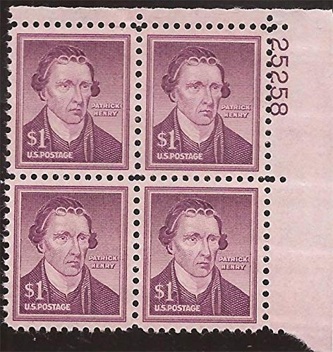 (United States Regular Issue Stamp Scott # 1052 Plate Block (4 stamps) Mint Unused Very Fine Centering Never Hinged $1 Patrick Henry)