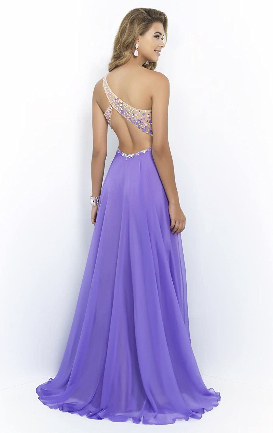 Passat Lavender One Shoulder Sexy Prom Dresses at Amazon Womens Clothing store: