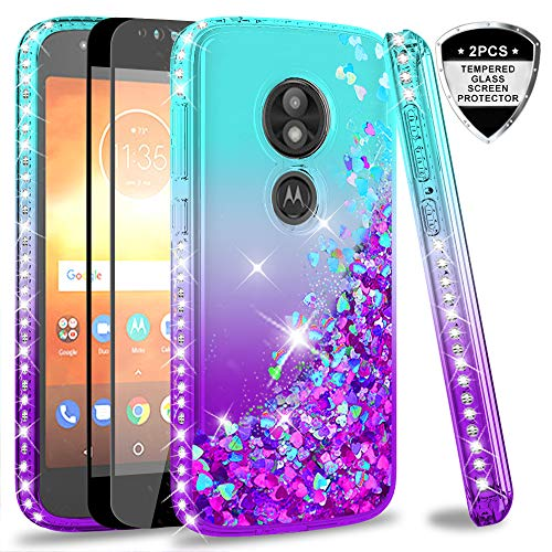 Moto E5 Play Case, Moto E5 Cruise Case (Not Fit Moto E5) with Tempered Glass Screen Protector for Girls Women, LeYi Glitter Cute Moving Quicksand Liquid Phone Case for Motorola E5 Play ZX Teal/Purple