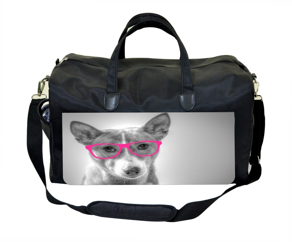 Puppy with Pink Glasses Gym Bag