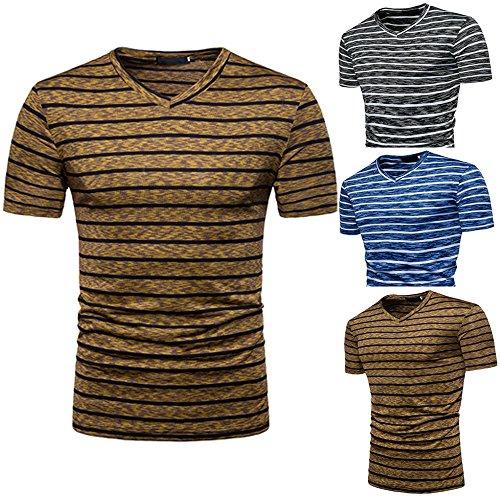 Stripe T Shirts for Men, MISYYA V Neck Polo Shirt Breathable Sweatshirt Muscle Tank Top Masculinity Undershirt Mens Tops Coffee by MISYAA (Image #3)