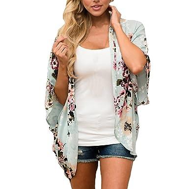 OHQ Chaqueta Abrigos Mujeres Gasa Floral Kimono Suelta Media ...