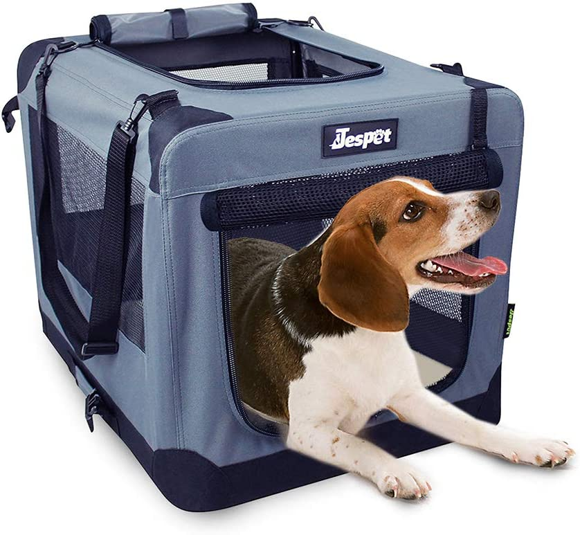 "JESPET Soft Pet Crates Kennel 26"", 30"" & 36"", 3 Door Soft Sided Folding Travel Pet Carrier with Straps and Fleece Mat for Dogs, Cats, Rabbits, Indoor/Outdoor Use with Grey, Blue & Beige, Black"