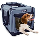 """JESPET Soft Pet Crates Kennel 26"""", 30"""" & 36"""", 3 Door Soft Sided Folding Travel Pet Carrier with Straps and Fleece Mat for Dog"""