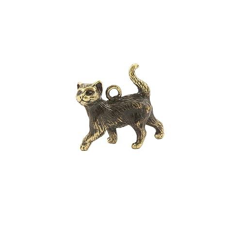 Amazon.com: Gato bronce estatuilla hecha a mano figura ...