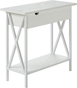 Convenience Concepts Tucson Flip Top End Table with Charging Station, White