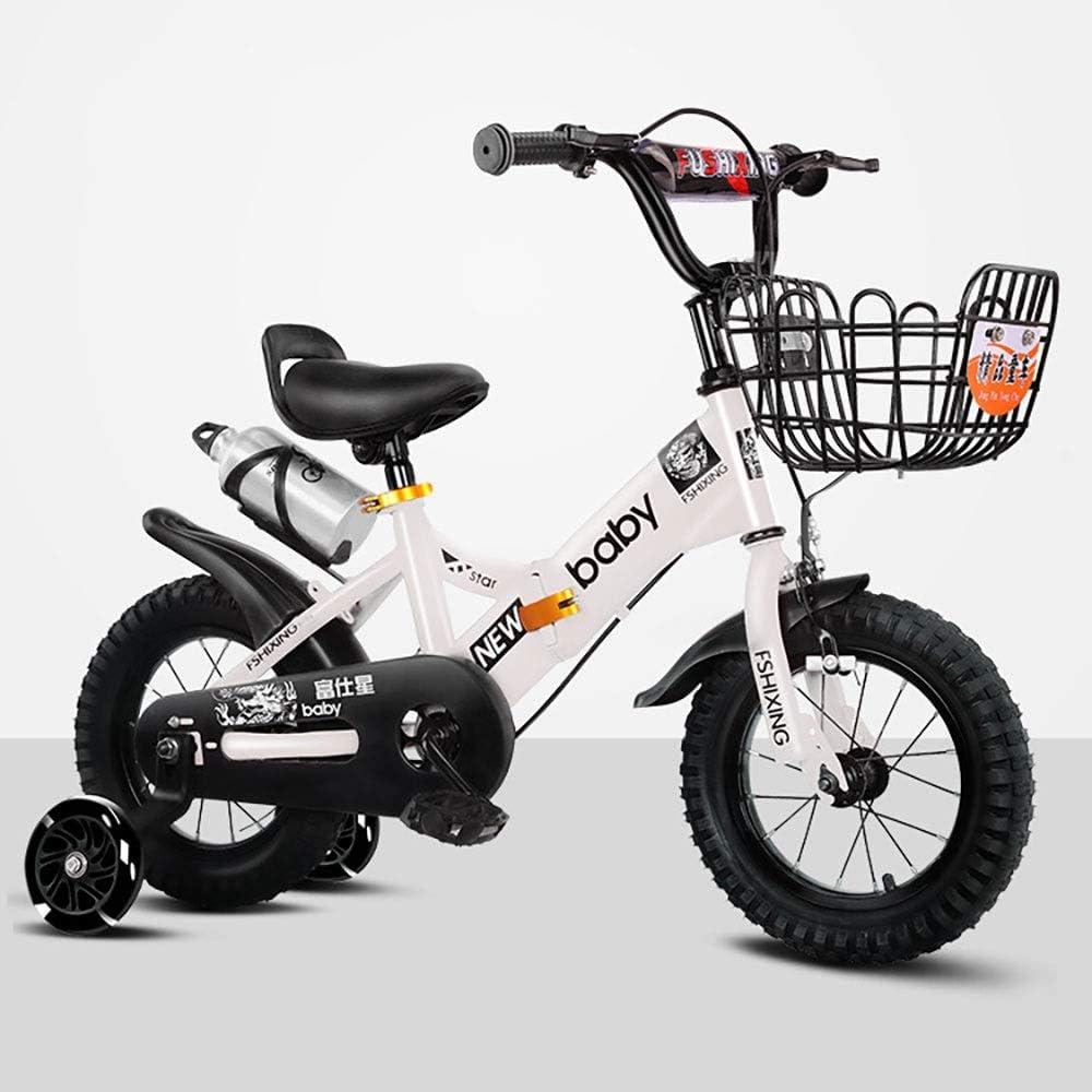 MLSH Bicicleta for niños de 2 a 8 años for niñas y niños, 14 16 18 Pulgadas Bicicleta Infantil con Ruedas de Entrenamiento Bicicletas de Mano, Blanco: Amazon.es: Deportes y aire libre