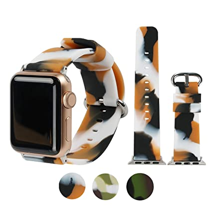 e994e56500654 WONMILLE Floral Bands Compatible with Apple Watch 38mm/42mm/40mm/44mm,  Silicone Fadeless Camouflage Pattern Printed Replacement Bands for iWatch  ...