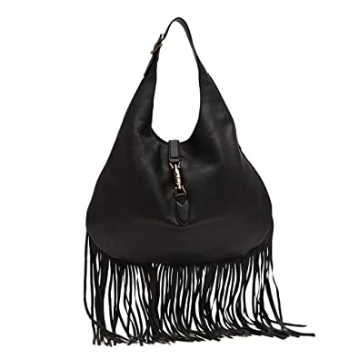 50cd0d1ffefd Amazon.com  Gucci Nouveau Fringe Black Leather Hobo New Jackie Black Leather  Handbag  Shoes