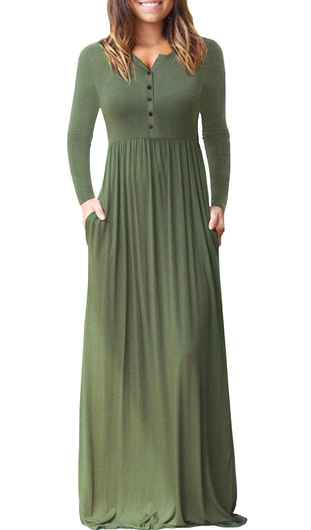 8f86dfe59fd Dearlovers Womens High Waisted Casual Long Sleeve Loose Plain Long Maxi  Dresses Army Green M