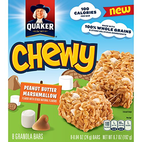Quaker Chewy Granola Bars, Peanut Butter Marshmallow, 8 Bars Per Box (12 Boxes)