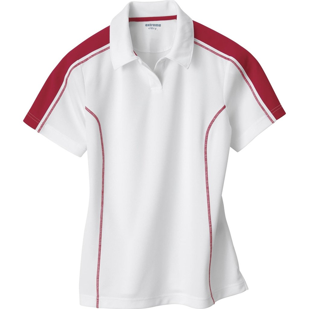 Ash City Ladies Extreme E Performance Pique Polo Shirt (X-Large, White/Classic Red) by Ash City Apparel